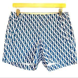 J. Crew Stretch cotton seahorse print shorts
